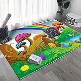 LAMEDER La Alfombrilla de Colores para niños Rainbow es Lavable, fácil de Limpiar.Decoración de Dormitorio Suave Sala de Estar Alfombra, 80 × 160 cm
