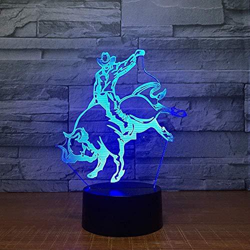 Lámpara de noche de luz 3D Lámpara de LED 3D Forma de tauromaquia Lámpara de noche 7 colores Cambiar luces de decoración El mejor regalo para el fanático del...