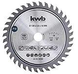 kwb 581868 - Hoja de sierra circular de precisión para madera y madera dura (corte fino de 130 x 16 mm, alto número, 36 dientes)