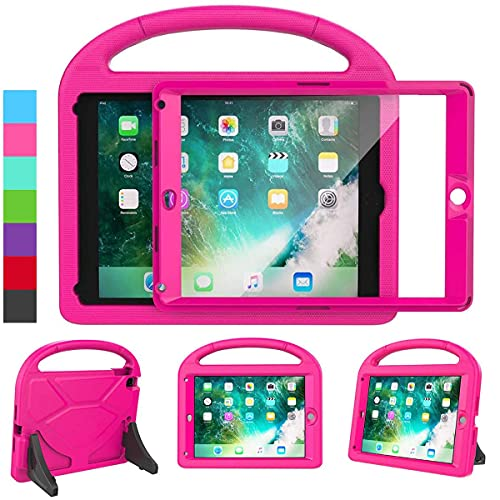 LEDNICEKER Kids Case for iPad 9.7 2018/2017 & iPad Air 2 - Built-in Screen Protector Shockproof Handle Friendly Foldable Stand Kids Case for iPad 9.7 2017/2018 (ipad 5&6) & iPad Air 2 2014 - Rose