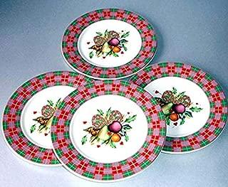 Lenox Tartan Holiday Set of 4 Party Tidbit Plates 6