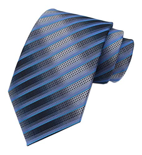 Men's Blue Grey Striped Neck Tie Accessory Evening Summer Wedding Casual Necktie