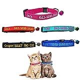 Brillianne Benutzerdefiniertes Breakaway Cat-Halsband, personalisiert mit Glocke, Sicherheitsverschluss, gesticktem ID-Namen am Kätzchenhalsband