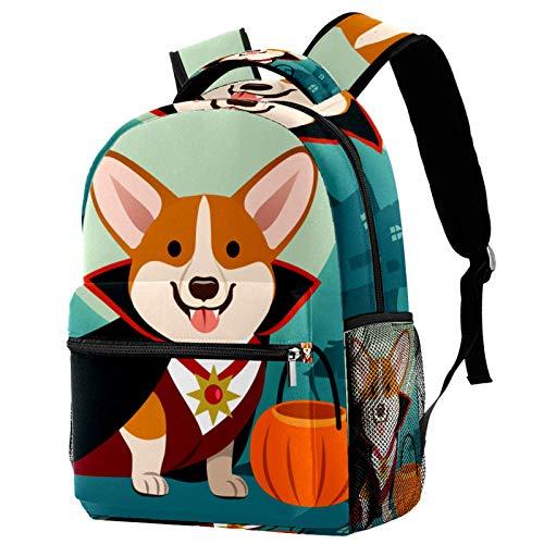 corgi in vampire costume Backpack for Boys&Girls Lightweight Student School Book Bags WaterproofCasual Daypack