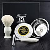 Shaver Set with <span class='highlight'>Hair</span> <span class='highlight'>Shaving</span> Brush White Badger <span class='highlight'>hair</span>–Sophist Collection Elegantly Designed By Haryali London Hand Made (Includes <span class='highlight'>Shaving</span> Soap and Bowl made of German Stainless Steel Razor)