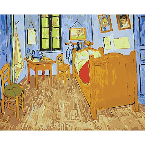Pintura de bricolaje por números Vincent Van Gogh lienzo pintura al óleo pinturas por número Kit arte imagen hogar sala de estar decoración A5 50x70cm