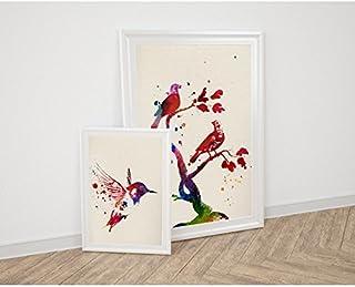 Nacnic Lot de Drap pour l'Encadrement Pajaros. Posters Style Aquarelle avec Images d'animaux. D?coration de la Maison. Feu...