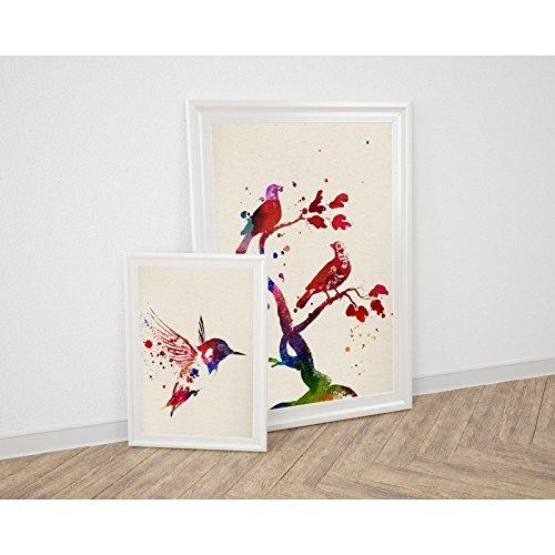 PACK van bladeren om vogels te ontwerpen. Aquarel poster met foto's van dieren. Interior. Frame voor frame. 250 gram papier van hoge kwaliteit