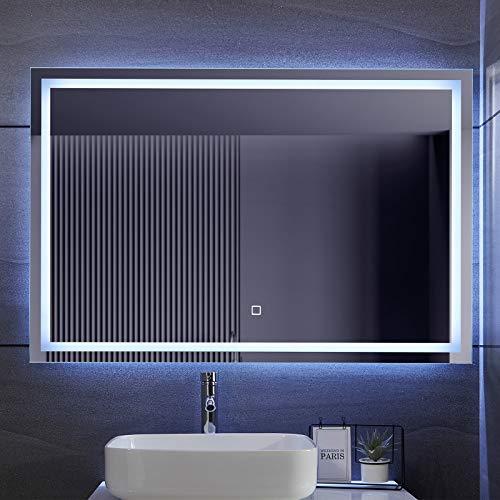 Aquamarin® Specchio Retroilluminato da Bagno - A++, Controllo Tattile, Controluce Bianca Fredda/Calda/Neutra, Antiappanamento, Dimensione a Scelta - Specchio LED Rettangolare, Parete (120 x 80 cm)