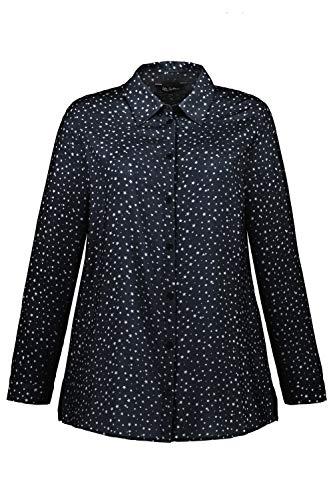 Ulla Popken Damen Hemdbluse Bluse, Blau (Marine 75129176), 58+