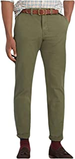 Mens Stretch Straight Fit Chino Pants Green 38/34