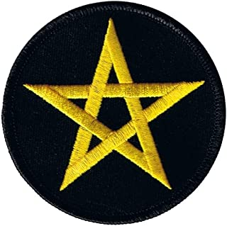 3 INCH Yellow Pentagram Patch Star Satan Symbol Embroidered Iron On Applique