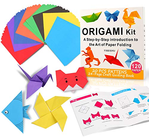 Origami Kit for Kids, 120 Sheets Origami Paper with Instructions Book, 6 Inch Square Easy Single Sided Color Folding Paper Set for Beginners Adults Kids Activity Birthday Christmas Gift