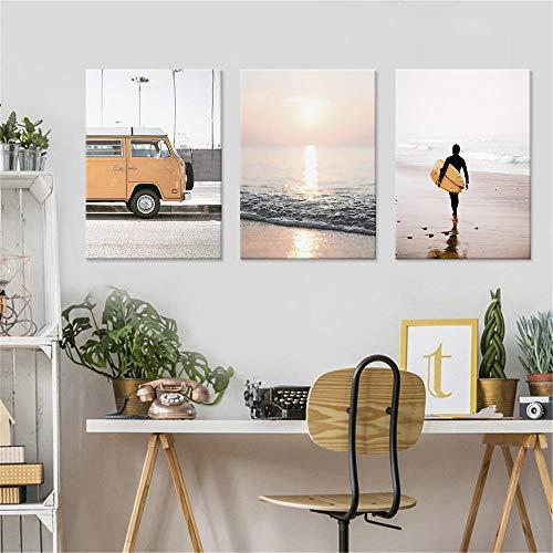 QZROOM Seaside Beach Tabla de Surf Paisaje Pintura de la Lona Autobús Retro Europeo Arte de la Pared Imágenes Sala de Estar Dormitorio Carteles Decoración para el hogar -40x60cmx3 Sin Marco