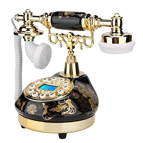 Teléfono Vintage, Ms-9107 Cerámica Negro Oro Patrón de Flor Teléfono de dial Giratorio Teléfono Antiguo de Estilo Europeo Decoración del Hogar Teléfono de Escritorio