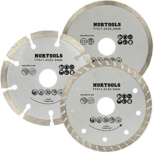 Set di lame diamantate, lama di taglio, lama per sega circolare, si può tagliare mattoni in pietra, cemento, e muratura in mattoni, 115mm * 3 pezzi