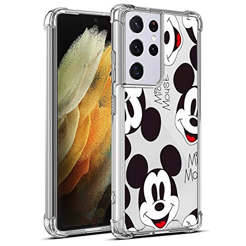 Compatible with Samsung Galaxy S21 Ultra Case 6.8 Inch Cute Cartoon Mickey Mouse Soft TPU Bumper Thin Clear Four-Corner Airbag for Woman Girls Shockproof Cover