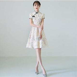 Summer Women'S Sexy Flower Chinese Embroidered Dress Cheongsam Evening Dress Short Sleeve Cheongsam Dress
