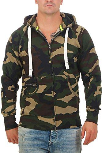 Happy Clothing Herren Sweatjacke Zip Hoodie Kapuzenjacke Militär Tarnmuster Camouflage, Größe:XXL, Farbe:Grün