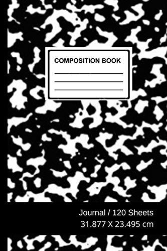 Black Marble Composition Book: Black Marble,Composition Book, Black/White, Quad Rule, 4 Squares, 120 Sheets, 6 po x 9 po, 31.877 X 23.495 cm,Soft Durable Cover
