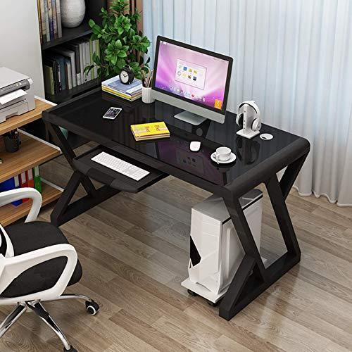 FSXJD Zuhause Bürotisch X-förmig Runde Ecke Schreibtisch Mit Tastaturablage Computertisch für Office Wohnzimmer Arbeitstisch-100x60x75cm(39x24x30inch) B