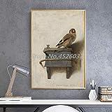 JEfunv El jilguero Pintura pájaro Animal Arte de la Pared Cartel Pintura sobre Lienzo decoración del Dormitorio imágenes decoración del hogar 50x70 cm 20x28 Pulgadas sin Marco