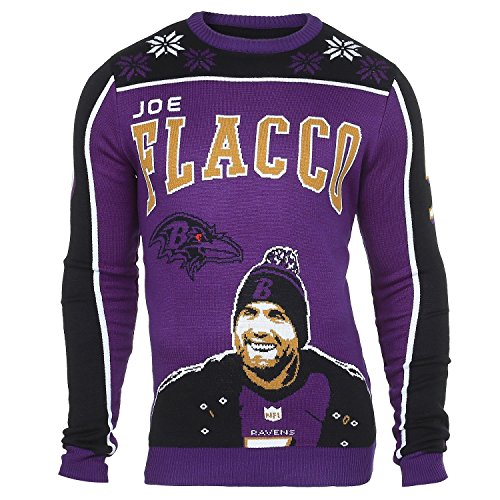 Forever Collectibles NFL Ugly Sweater Pullover Christmas Baltimore Ravens Joe Flacco Weihnachtspullover (L)