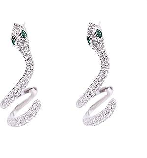Zimny wiatr wąż w kształcie ucha biżuteria S925 srebrna igła cyrkon prosty osobowość kolczyk kolczyki w kształcie węża