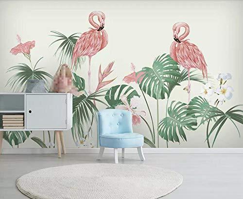 Papel Pintado 3D Dibujado A Mano Flor Tropical Selva Tropical Planta Flamenco Fotomural 3D Papel Tapiz Moderno Wallpaper