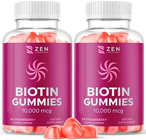 (120 Gummies) Biotin Gummies 10000mcg Vitamin Supplement for Hair Skin Nail Growth w Coconut Oil, Zinc, Vitamin C, D3, B, E for Women Men - Multivitamin Beard Hair Care, Nail Strengthener (2 Pack)
