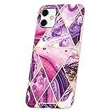 QULT Funda iPhone – Cubierta Protectora Diseñada para Funda iPhone 11 – Cubiertas de Silicona con Protector contra Golpes de TPU – Patrón Marmoleado – Bordes de Cámara Elevados Mármol Morado-Dorado