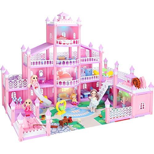 KAINSY Casa Bambole,344PCS Casa delle Bambole per Bambina Giocattolo dei Bambini 4 Piani con Mobili e Accessori Completi e Bambole