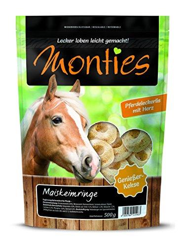 Monties Pferdeleckerlis, Maiskeimringe, Gebacken, Größe ca. 4,5 cm Durchschnitt, Genießer-Kekse, 6er Pack (6 x 500 g)