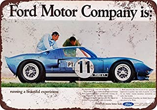 1965 Ford GT Vintage Look Reproduction Metal Tin Sign 12X18 Inches