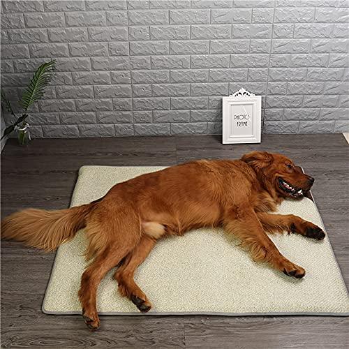 Alfombrilla de refrigeración para perros con fibra de bambú natural, lavable, mantiene a tus mascotas frescas en interiores o en el coche, beige, M