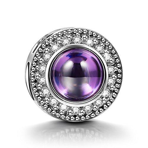 NINAQUEEN Charm encaja con Pandora Amatista Púrpura Regalos Mujer Originales Plata de ley 925 Zirconia Abalorios para Niñas Madre Hija Esposa de Cumpleaños