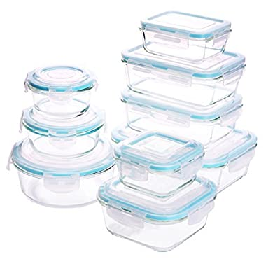 Glass Food Storage Container Set - 18 Pieces (9 Containers + 9 Lids) Transparent Lids - BPA Free - For Home Kitchen or Restaurant - by Utopia Kitchen