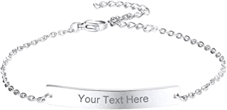 Free Engraving - Personalized Custom Bar Bracelet Stainless Steel Name Coordinates Jewelry Men Women Gift, 6.3''-8.3''