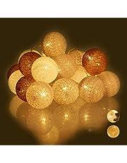 Relaxdays, Wit/grijs/bruin led-lichtsnoer met 20 katoenen bollen, werkt op batterijen, sfeerverlichting, ballen 6 cm Ø, standaard