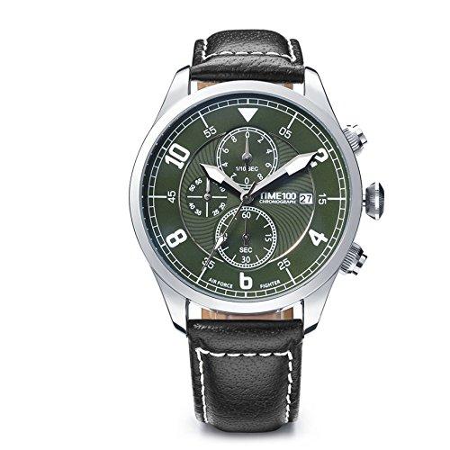 Time100 Multifunzionale Orologio da Polso Uomo, Cinturino di Pelle di Vitello, Movimento al Quarzo, Quadrante Nero e Rotondo, Elegante e Distinto#W80092G.02A