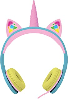Gabba Goods Premium Safe Sound LED Light Up in The Dark Unicorn Over The Ear Comfort Padded Stereo Headphones with AUX Cable | Earphones Multi GG-UKESS-RBW