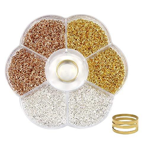 Toaab 2400 anillos de salto de juntas, juntas, juntas, de hierro, conector de joyas, cadena Links, oro, plata, oro rosa, con caja de almacenamiento para fabricación de pulseras, collares, manualidades