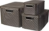 Curver 240653 - Set de 3 cestas Style con tapa, tamaños S de 7 litros, M de 18 litros y L de 30 litros, color marrón