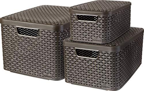CURVER Lot de 3 Boîtes avec Couvercle - 3 Caisses (6L+18L+30L) en Plastique avec un Design Rotin Tressé pour Salle de Bain, Chambre, Bureau - Poignées Ergonomiques - Marron Foncé