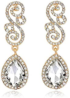 Beautiful Bridal Glass Rhinestones KC Gold Plated Earrings Jewelry