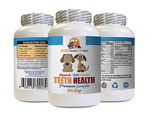 Dog Dental Health - Dog Teeth Health Care - Advanced Complex - Eliminate Bad Breath Plaque Build UP - Healthy Gums - Vitamin c for Dogs chewable - 60 Tablets (1 Bottle)