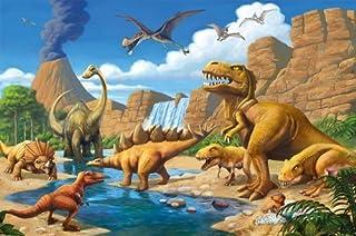 Great Art Poster Childrens Room Dinosaur Adventure - Wall Picture Dino World Decoration Comic Style Jungle (55 Inch x 39.4 Inch /140 cm x 100 cm) [並行輸入品]