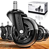 HOKEKI Office Chair Wheels, Heavy Duty Casters Set of 5, Caster Wheels 3 Inch Fit for Most Desk Chair, Gaming Chair, Computer Chair, Rubber Replacement Casters Safe for All Floors(Hardwood, Carpet)