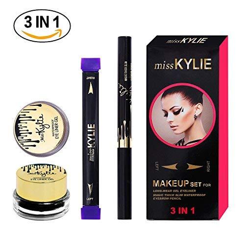 Turelifes, kit timbro per eyeliner, facile da applicare, trucco 3in 1, include timbro a forma di ala, pennelloobliquo e inchiostro per eyeliner