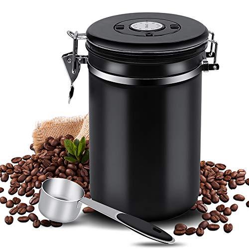 Kaffeedose Luftdicht Kaffeebehälter Edelstahl Aromadose Vorratsdose Kaffeebohnenbehälter Aromadicht Vakuum Kaffeebox mit Löffel für Kaffeebohnen Kaffeepulver Tee Nüsse Kakao Aufbewahrung 1.5L Schwarz